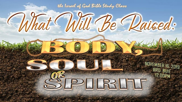 11162019 - What Will Be Raised Body, Soul or Spirit?