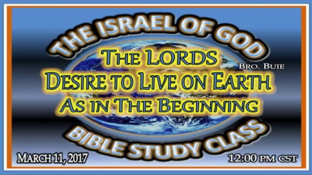 31117 - The Lord's Desire To Live On Earth As In The Beginning