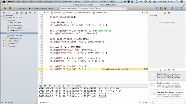 6 Xcode - Numbers