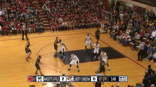 2015 SemiState Marquette Catholic vs Liberty Christian Nunn dunk