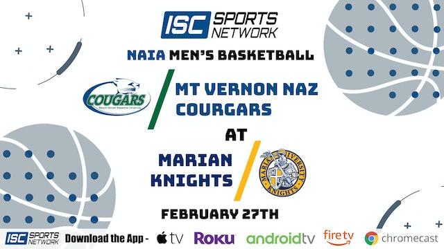 2021 MBB Mt Vernon Nazarene at Marian 2/27