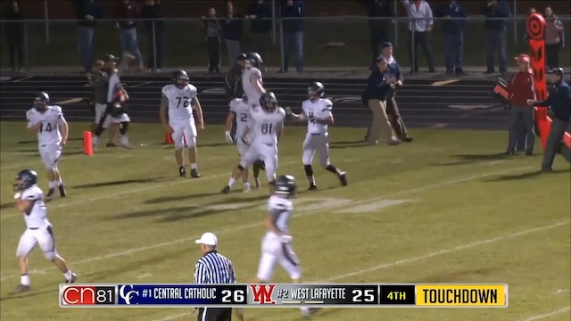 2016 FB Central Catholic at West Lafayette Denhart to Tharp Game Winner