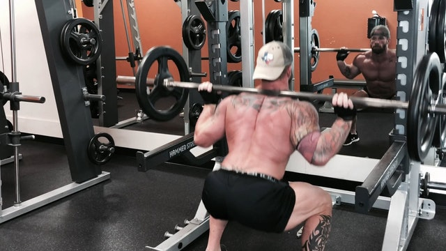 Quads Glutes - Weighted Straight bar squats