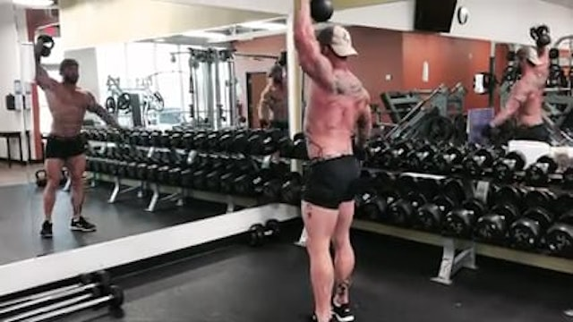 Quads Hamstrings Shoulders Abs - Weighted overhead lunges