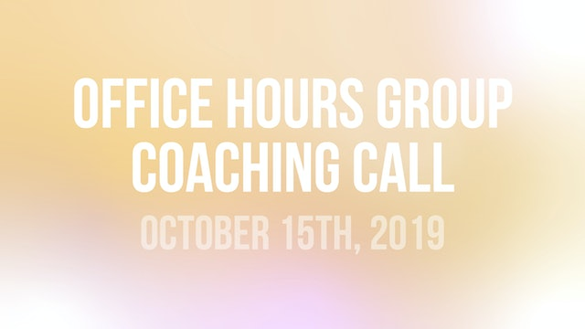 John Wineland Virtual Workshop Office Hours Group Coaching Call - October 15th
