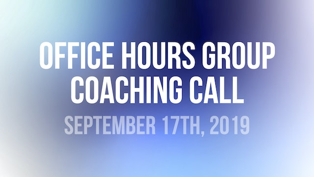 John Wineland Virtual Workshop Office Hours Group Coaching Call - September 17th