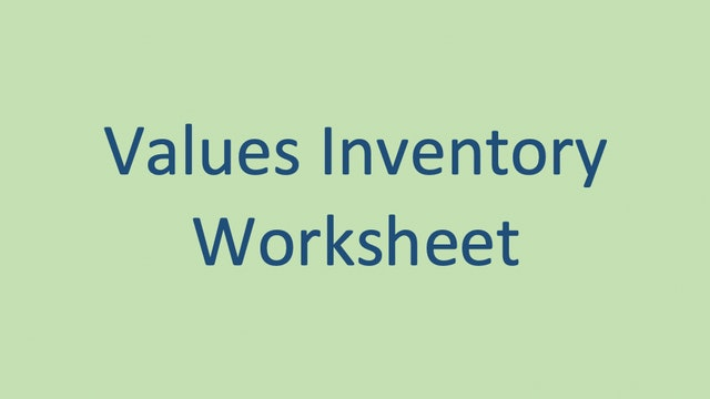 Values Inventory Worksheet