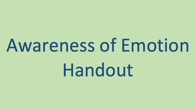 Awareness of Emotion Handout