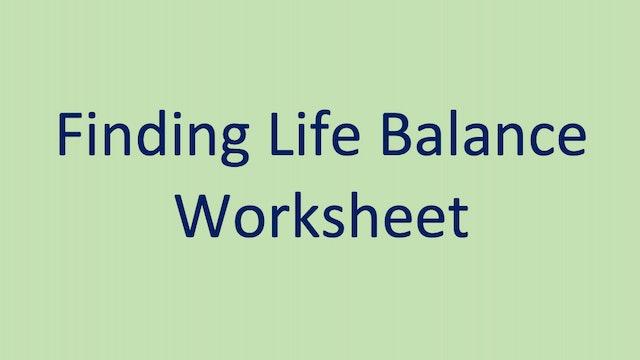 Finding Life Balance Worksheet