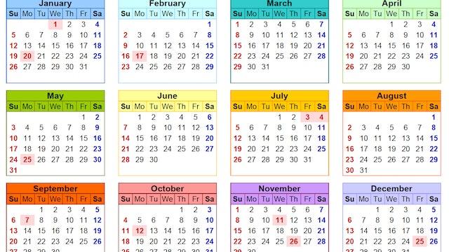 2020 Calendar Simple