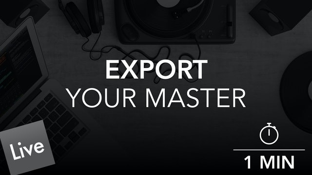 Export your final master
