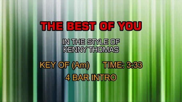 Kenny Thomas - The Best Of You