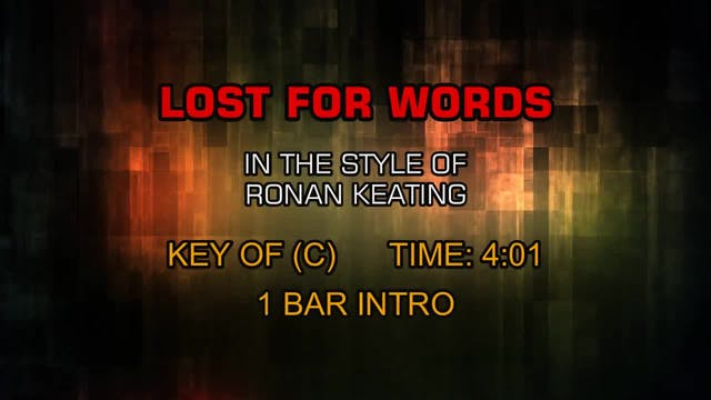 Ronan Keating - Lost For Words