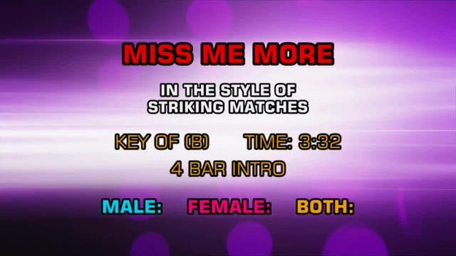 Striking Matches - Miss Me More