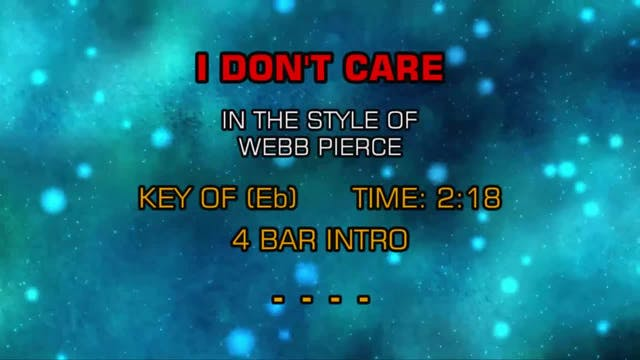 Webb Pierce - I Don't Care
