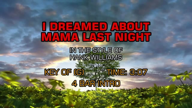 Hank Williams as Luke The Drifter - I Dreamed About Mama Last Night