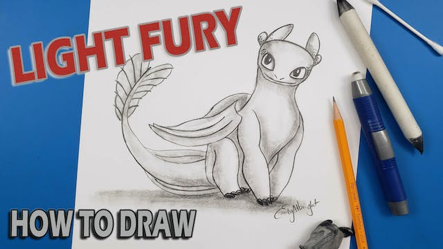 """Draw """"LIGHT FURY"""" Sitting How To Train Your Dragon"""