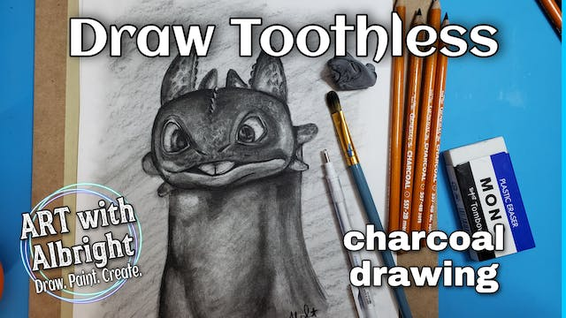 Toothless Using Charcoal Pencils