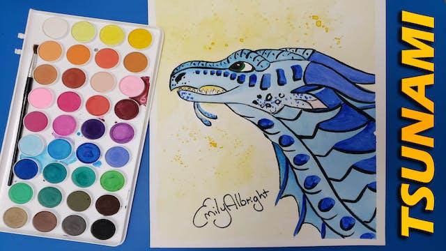 """TSUNAMI"" Wings of Fire Dragon Series - Watercolor"
