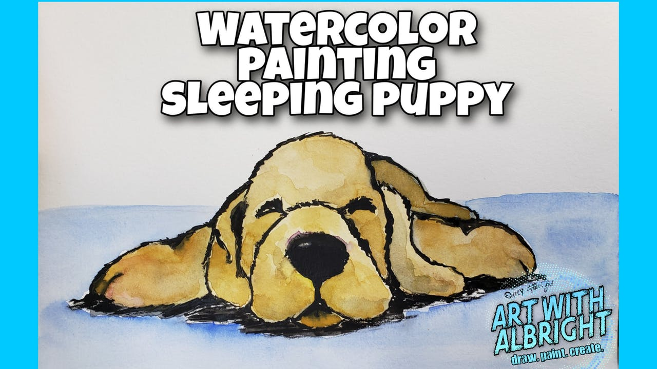 Paint ~ Watercolor Sleeping Puppy Dog