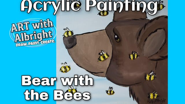 Learn how to Acrylic Paint a Bear with Bees