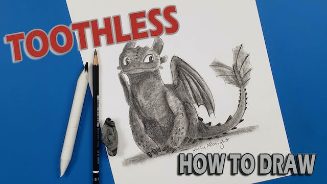 """Draw """"TOOTHLESS"""" Sitting How To Train Your Dragon"""