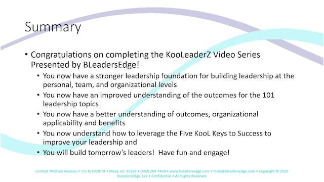 KooLeaderZ Video Series Summary