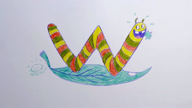 Learn To Draw ABC - W is for Worm