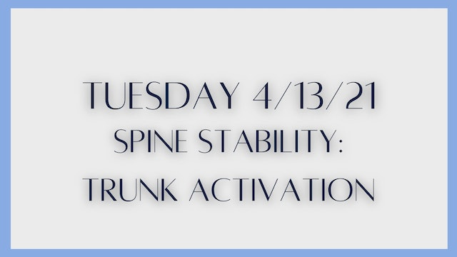 Spine stability: Trunk Activation