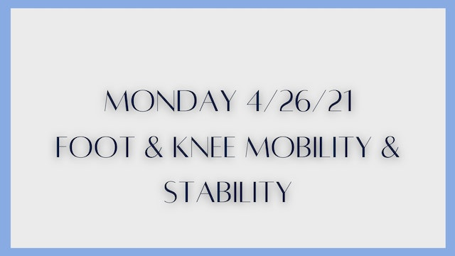 Ankle & knee stability & mobility