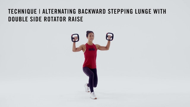 LES MILLS TECHNIQUE: Alternating Backward Stepping Lunge with Side Rotator Raise