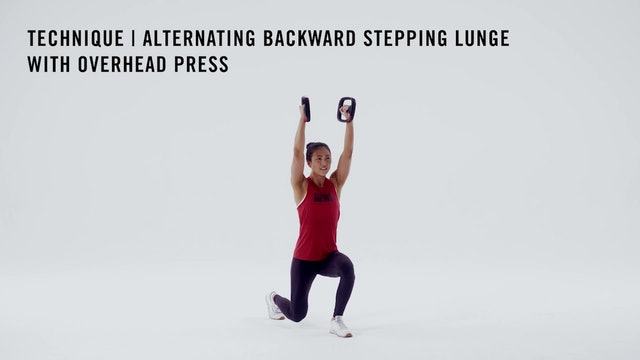 LES MILLS TECHNIQUE: Alternating Backward Stepping Lunge with Overhead Press