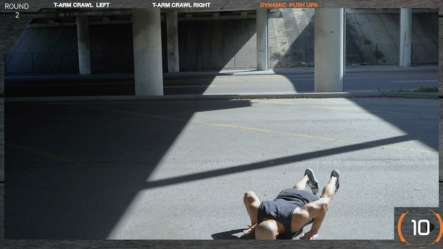 SUPERSETS (DE) Dynamic Push Up with T-Arm Crawl