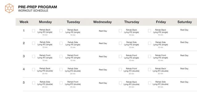 5 Week Pre-Prep Schedule