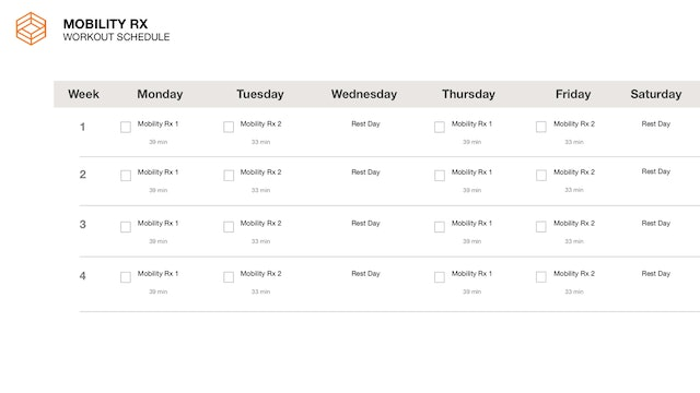 Mobility Rx- Schedule