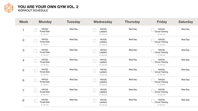 YAYOG Vol. 2- Schedule