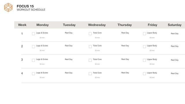 Focus 15- Schedule