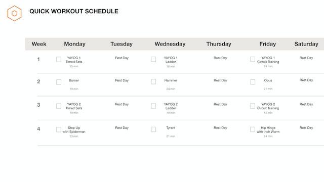 Quick Workout Schedule
