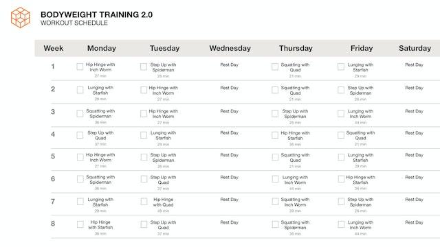 8 Week Schedule