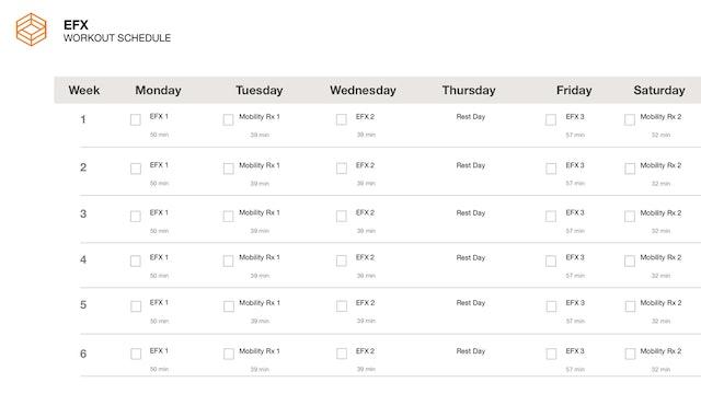 EFX- Schedule