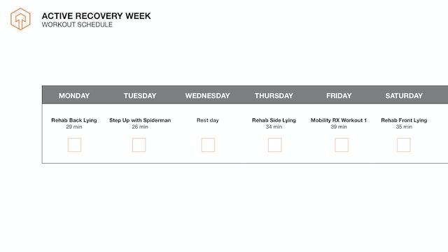 Active Recovery Week- Schedule