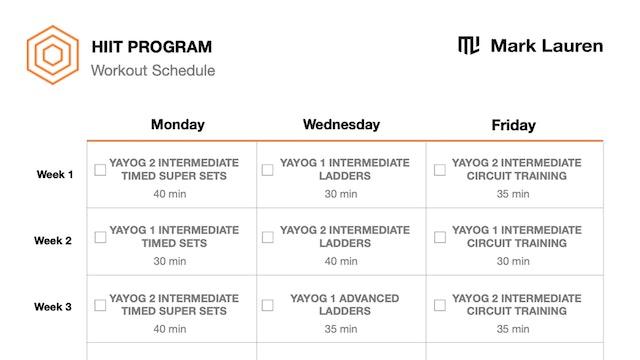 HIIT Schedule