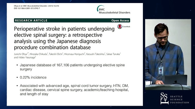 Intra-operative ischemic stroke in elective spine surgery