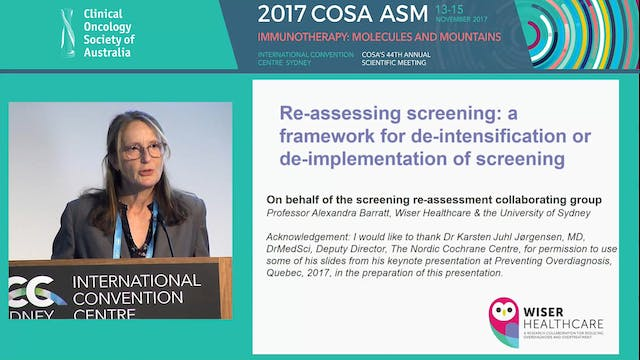 A framework for de-intensification of cancer screening programs Alexandra Barratt