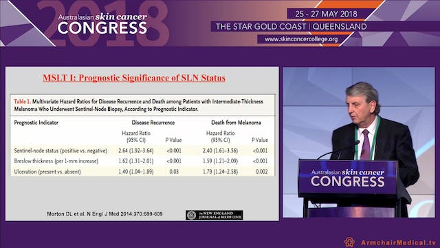 Practical implications for sentinel node biopsy for cutaneous melanoma 2018 Prof Mark Smithers