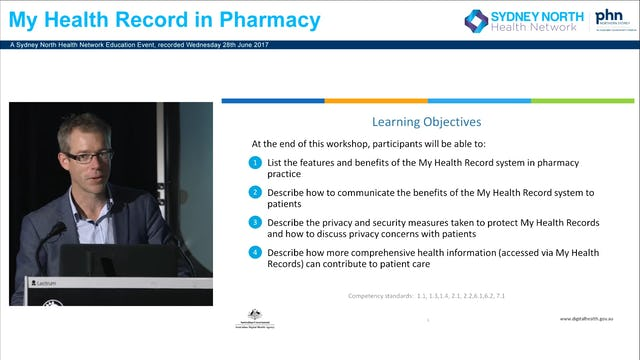 My Health Record in Pharmacy Shane Jackson, Clinical Reference Lead, Australian Digital Health Agency