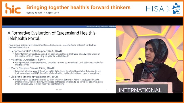 Telehealth portal use for pre-admission consultations in Queensland Benefits, challenges and critical enablers Dr Amina Tariq