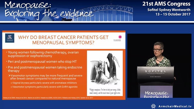 Managing menopause after breast cancer Prof Martha Hickey