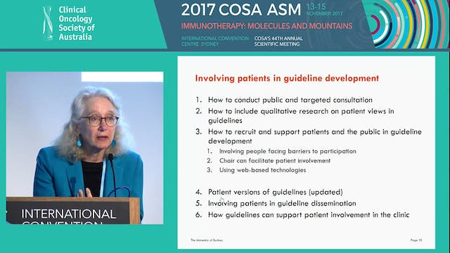 Challenges of writing new guidelines prof Phyllis Butow