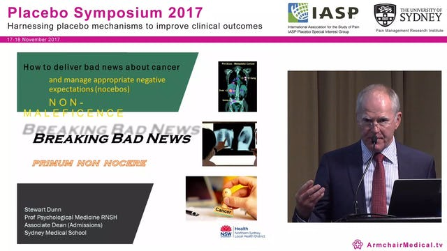 Breaking bad news - managing appropriate negative expectations (nocebo's) Prof Stewart Dunn